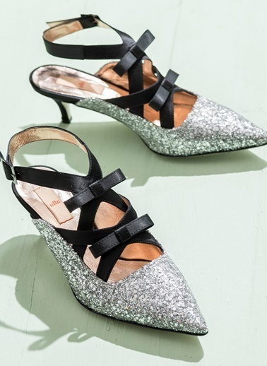 Elle İnce Topuklu Ayakkabı Gümüş
